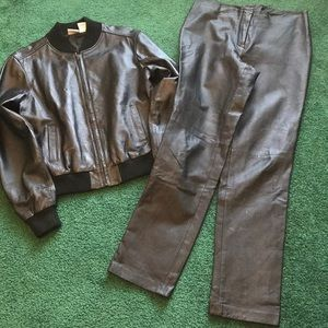 100% Leather Retro Women's Jacket/Pants